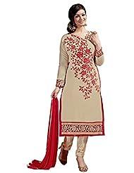 Aarti Lifestyle Women's Chanderi Silk Embroidered Beige Unstitched Salwar Suit