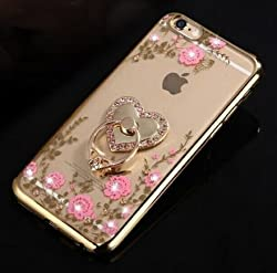 IKASEFU Luxury Bling[Pink Flower+Rose Flower Ring Support]Gold Frame Rhinestone Transparent Clear Case Cover for iPhone 6 Plus/6S Plus 5.5