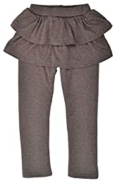 Little Girls Princess Leggings w/ Mini Skirt Pantskirt, Stretchy,Coffee,4