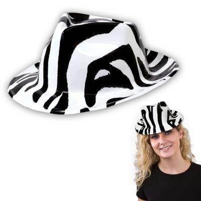 Totally 80's Black and White Zebra Fedora - 1