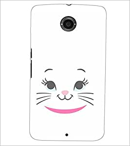 PrintDhaba Kitty Face D-2284 Back Case Cover for MOTOROLA GOOGLE NEXUS 6 (Multi-Coloured)