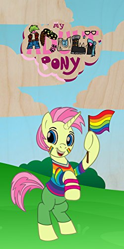 """Pride-Icorn"" Gay Rights Activism Animal Cartoon Parody - Plywood Wood Print Poster Wall Art front-612626"
