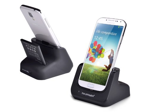 Ravpower® Samsung Galaxy S4 Charger / S Iv I9500 Desktop Charging Cradle & Sync Dock (Spare S4 Battery Charger, Detachable Case Plate, Compatible Without Or With A Slim-Fit Case,Black)
