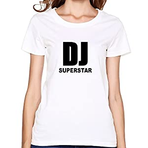 DJ Superstar Print Korean Short Sleeve O Neck T Shirts For Women