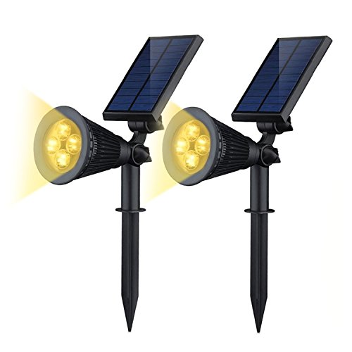Solar Lights,iHOVEN 2-in-1 Solar Powered 4 LED Adjustable Spotlight Wall Landscape Light Bright & Dark Sensing Auto On/Off Security Night Lights for Patio Yard Stairs Pool (Warm White) (Lumen Time Freeze compare prices)