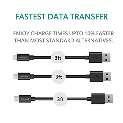 Techoland Premium Micro USB to USB Cable High Speed USB 2.0 A Male to Micro B for Android, Samsung, HTC, Nokia, Portable Charger, Power Bank, Smartphones, Tablets and other Micro USB Charged Devices
