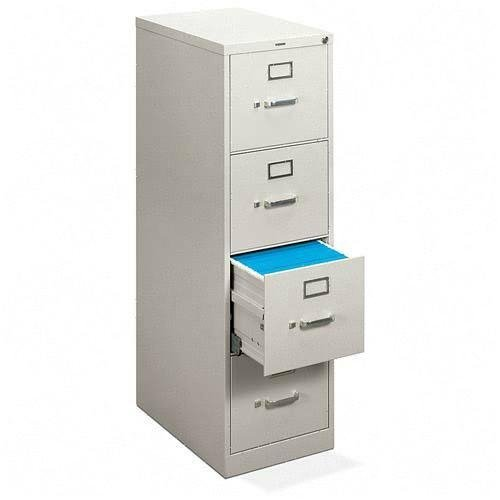 Basyx 4-Drawer Vertical File Cabinet, 15 by 22 by 48-3/4-Inch, Light Gray