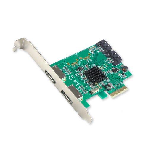IO Crest 2 Port SATA III 2 Port eSATA III PCI-e 2.0 x 2 Controller Card, Non Raid Marvell 88SE9235 Chipset with Low Profile Bracket, Green SI-PEX40063