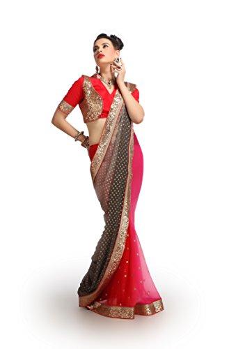 Shubhlaxmi Sarees Chiffon Saree(D605B_Beige Red)