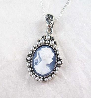 Pearls and Blue Cameo Necklace