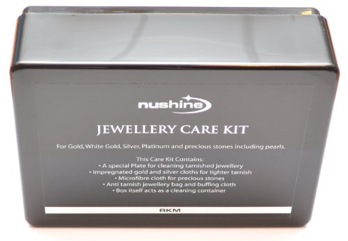 Nushine Jewellery Care Kit - for cleaning and storing all types of jewellery (Gold Cloth, Silver Cloth, Gem Cloth, Polishing Cloth, Magic Cleaning Plate, Anti-tarnish Jewellery Storage Bag, Keep-safe wallet and Presentation Box)