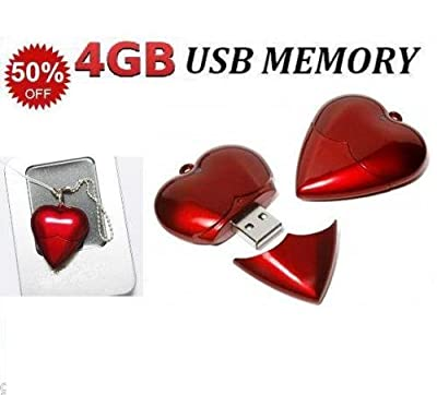 4gb Usb Flash Drive Gift Red Heart Necklace Locket Pendant Pen Drive Memory Stick Jeweled With Gift Box And Chain Ideal Present For Her Cheap And Good Quality from Giftronix