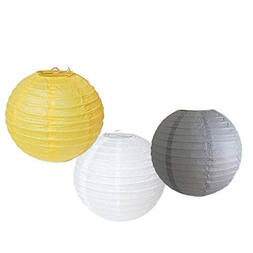 "Set of 6 Mixed 8"" Grey Yellow White Round Paper Lantern Lampshade for Wedding Birthday Baby Shower Party Hanging Decoration"