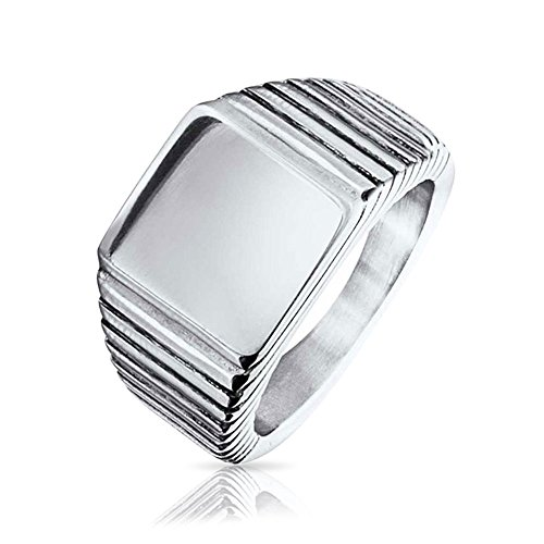 Bling Jewelry Stainless Steel Mens Square Signet Ring With Free Engraving