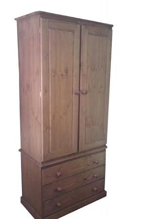 Wye Pine Bespoke Woodland 3 Drawer Wardrobe - Finish: Lacquer - Stain: Waterbased