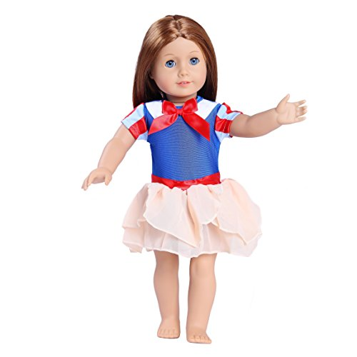 Toy Doll Clothes - 1 Piece Everyday Blue and Off-White Dress with Red Accents