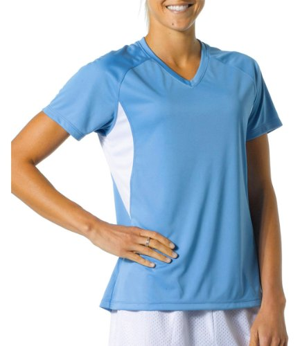 A4 Women'S Cooling Color Blocked Performance V-Neck Shirt, Light Blue/ White, S