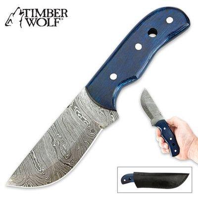 Timber Wolf Blue Pakkawood Damascus Fixed Blade Hunting Knife With Sheath