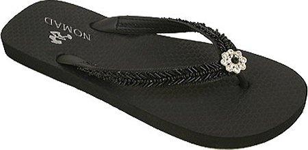 Womens Black Flip Flops front-481416