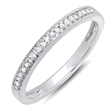 buy 0.15 Carat (Ctw) 10K White Gold Round White Real Diamond Wedding Anniversary Milgrain Stackable Band Ring (Size 7)