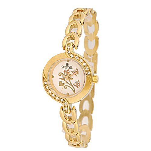 Swisstyle Analogue Gold Dial Women's Watch – SS-LR1403-WHT-GCH