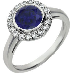 Sterling Silver Dark Blue Cubic Zirconia Ring
