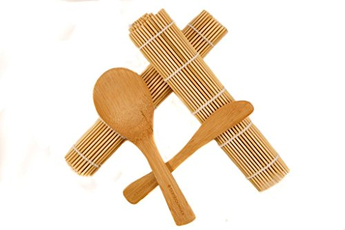 BambooWorx- sushi making kit, 2 sushi mats, 1 paddle, 1 spreader, sushi rolling kit, 100% bamboo sushi mats and utensils