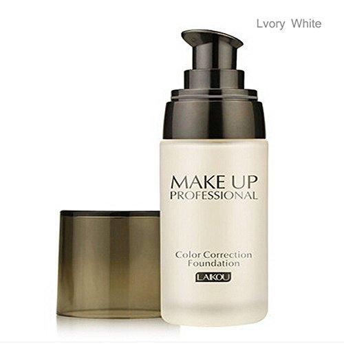 LuckyFine 3 Couleurs Fonds de Teint Liqude Fondation Blanchir Concealer Hydratant Maquillage Facial 40ml Blanc d'Ivoire