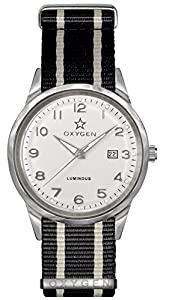 Oxygen Fjord 40 Unisex Quartz Watch with White Dial Analogue Display and Black Nylon Strap EX-SV-FJO-40-NN-BLIVBL
