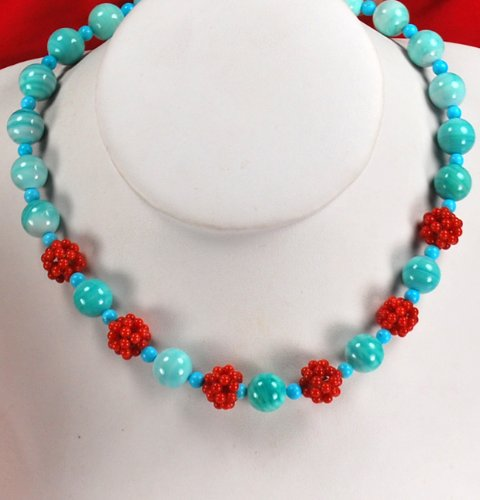Blue Turquoise and Red Coral Ball Beads Necklace N10_0905_83