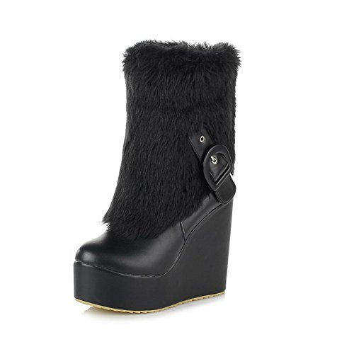 BeautyLover Womens Closed Round Toe High Heels Solid PU Short Plush Boots with Wedge