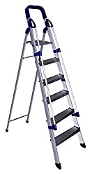 Glow Plast Folding Aluminium Ladder with Railings - Home Pro 6 Steps With 7 years Warranty