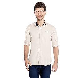FlyJohn Beige Cotton Silk Men's Shirt