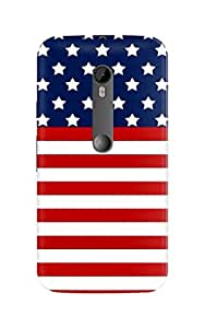 Ownclique Captain America US Flag Mobile Back Cover for Moto G3 [Matte Finish]