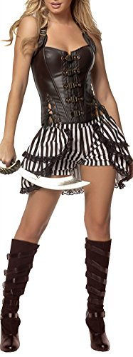 Honeystore Women's Luxurious Pirate Costumes Halloween Medieval Fancy Dresses