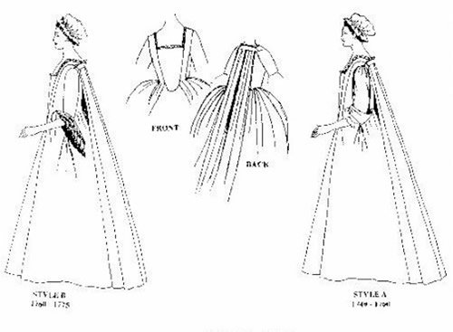 Sack Back Gown (Robe A'la Francaise) Pattern (Large 40-44