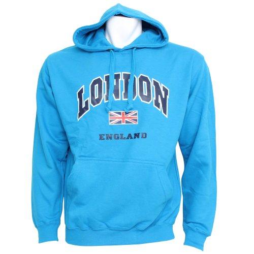 Mens London England Print Hooded Sweatshirt Jumper/Hoodie (XS - 32inch - 34inch) (Blue)