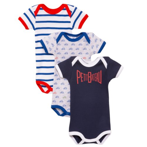 Petit Bateau Baby-Boys Infant Boys 3-Pack Bike Graphic And Striped Bodysuits, Red/Navy, 18 Months