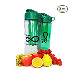 Fusion Infinity Sports Water Bottle - 22oz - The BEST Compact Infuser Water Bottle! Made in USA, BPA Free, Dishwasher Safe, Eastman Tritan and Leak Proof! Create your own flavored water!