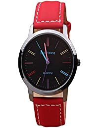 ISweven 2016 Explosion Models Leather Watches Simple Unisex Watch Analogue Red Unisex Wrist Watch W1030bb