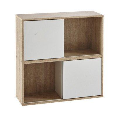 Demeyere 211511 Slide Regal mit 2 weißen Schiebetüren aus Spanplatten dekoriert, Breite 78,5 x 78,5 x 30 cm, Korpus in eiche