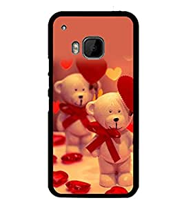 printtech Cute Teddy Heart Ribbon Back Case Cover for HTC One Hima