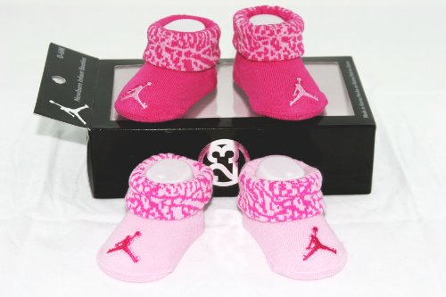 Nike Air Jordan 2 Pairs Newborn Infant Baby Girl Booties Socks Pink w/Air Jordan Logo Size 0-6 Months