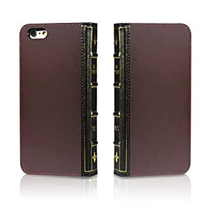 EC Technology Genuine Leather Wallet Book Cover with Credit Card ID Holders for Iphone 6 Plus 5.5 - Brown