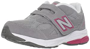 New Balance KV990 Hook and Loop Running Shoe (Little Kid),Grey/Pink,2.5 XW US Little Kid
