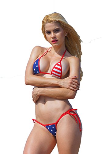 Mini Stars & Stripes Small Scrunch Butt Bikini 3pc Red White Blue American Flag (Blue And White Bikini compare prices)