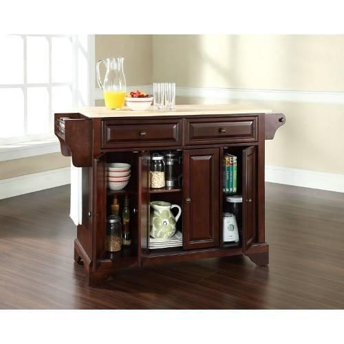 Crosley Furniture LaFayette Natural Wood Top Kitchen Island, Vintage Mahogany (Mahogany Kitchen Cabinets compare prices)