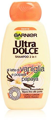 Garnier Ultra Dolce al Latte di Vaniglia e Polpa di Papaya Shampoo 2in1 per Capelli Lunghi, 250 ml