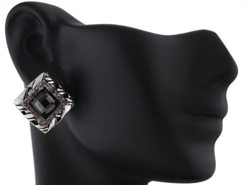 Ladies Silver Square with Black Square Iced Out Shape Stones Clip on Earrings