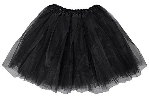 Simplicity Women's Classic Elastic, 3-Layered Tulle Tutu Skirt, Black